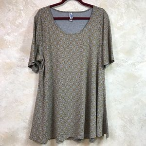 LULAROE PERFECT T GRAY/GOLD TUNIC TOP SIZE 2XL